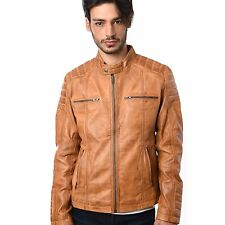 Mens BIKER style Real Nappa sheep Leather Jacket 100% Genuine