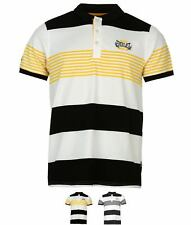 SALDI Everlast Yarn Dye Stripe Polo Shirt Mens Black/Wht/Ylw