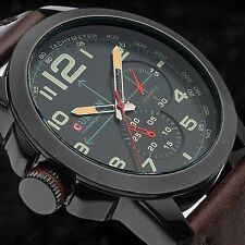 CURREN Fashion Mens Leather Analog Army Military Quartz Sport Wrist Watch