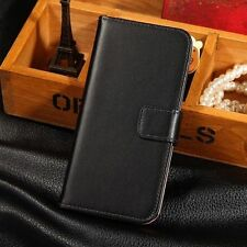 Genuine Real Leather Stand Flip Wallet Card Phone Case Cover For HTC ONE M8