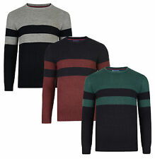 Le Shark New Mens Crew Neck Jumper Acrylic Blend Warm Knitted Stripe Pullover