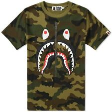 100% AUTH BRAND NEW MENS A BATHING APE BAPE WOODLAND GREEN CAMO SHARK TEE