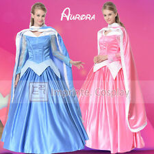 Adulto Aurora Vestido Sleeping Beauty Cosplay traje princesa vestido de fiesta