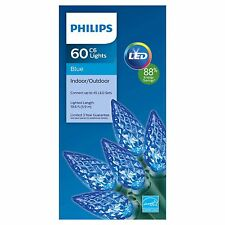 New 60 ct Philips LED Faceted C6 Lights Blue Green Wire indoor Outdoor