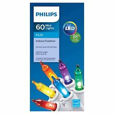 NIB Philips 60 Count 6-Color Mini Lights LED Christmas White Wire Indoor/Outdoor