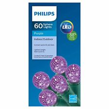 New Philips 60 ct LED Faceted Sphere String Lights Purple Green Wire