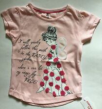 Beautiful Baby Girls Peach Short Sleeved T Shirt with Fairy detail