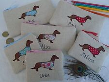 Personalised Purse or Pencil Case, Dachshund Sausage Dog Choice of Fabric Words