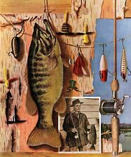 Fishing Still Life by John Atherton Painting Print on Wrapped Canvas