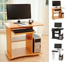 Bureau de Table PC Informatique Ordinateur Travail Noir, Blanc, Hêtre Kingpower