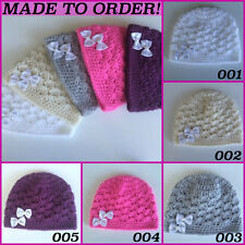 MADE TO ORDER  Baby Girl's  Beanie Hat up to  12 Months Handmade Crochet