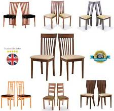 2x Solid Wood Dining Chair Modern Leather Seat Soft PU Fabric Foamed Furniture