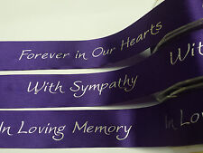 Bereavement Funeral Ribbon 38mm Forever in our Hearts, With Sympathy, In Loving