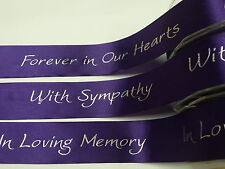Ribbon Bereavement Funeral  38mm Forever in our Hearts, With Sympathy, In Loving