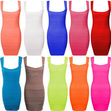 Womens Ladies Ribbed Bandage Cut Out Pleated Stretch Bodycon Mini Party Dress