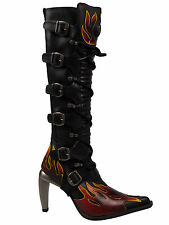 New Rock High Heel / Damen Stiefel Boot Flamme Metallabsatz M9308 #5074