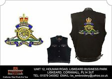 Royal Artillery Embroidered Black Denim and Leather Vest Sleeveless Jacket