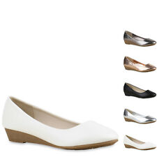 Damen Pumps Keilabsatz Keilpumps Metallic Wedges Schuhe 815210 New Look