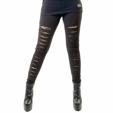 VIXXSIN SLASHER LADIES BLACK LEGGINGS GOTHIC LACE PUNK EMO GOTH LOLITA