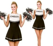 adulti LICEO Cheerleader Costume da donna nero vestito 6/24