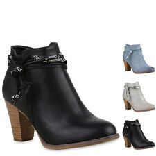 Damen Stiefeletten Ankle Boots High Heels Used Look Zierperlen 815333 New Look