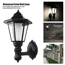 HK Outdoor Solar Power LED Path Way Wall Landscape Mount Garden Fence Lamp Light