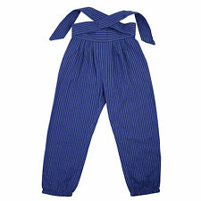 NeedyBee Girls Causal Wear Blue Cotton Pants With Tie Knot belt