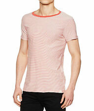 LEE Basic Casual Summer Stripe T-Shirt Faded Red Slim Fit Cotton Tee