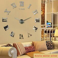 Wall Clock DIY Sticker Decor Mirror Large 3d Home Modern Surface Office Time New