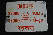 Vintage Old Collectible Indian Danger Sign Advertising  33000 Volts- 1940's