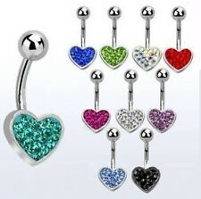 TITANIUM Crystal HEART Belly Bar - Pick Colour & Length: 6mm 8mm 10mm 12mm 14mm