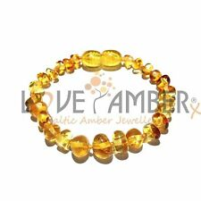 Love Amber x Child Genuine Honeypot Polished Honey Baltic Amber Anklet Beads UK