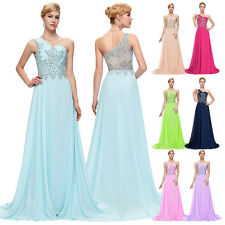 Bead Chiffon Evening Formal Party Ball Gown Prom Bridesmaid Long Wedding Dress