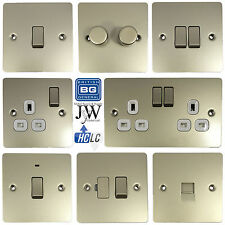 BG Electrical Pearl Nickel Flat Plate Sockets & Switches - NEW UK STOCK