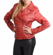NEW Womens Genuine Leather Cross Zip Jacket Fitted Biker Casual Style Red