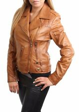 NEW Womens Genuine Leather Cross Zip Jacket Fitted Biker Casual Style Tan