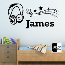 Headphones music notes Personalised name  - Vinyl Wall Art Decal Sticker Kids