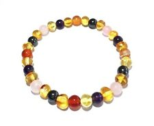 Adult Edrea Gemstones and Honey Baltic Amber Bracelet