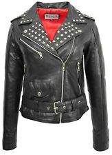 Ladies Real Leather Brando Biker Style Studded Jacket Fitted Short Length Black