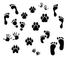 "Tiny Hands & Paw Prints durable  190mm Mylar 6"", 8"", 12"" Stencil *NEW*"