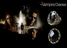 The Vampire Diaries Jeremy Elena Gilbert, Black Agate Antique Gold Daylight Ring