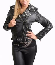 Ladies Real Leather Biker Style Studded Jacket with Belt Fitted Cut Black
