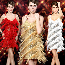 Sexy Women Ball Dress Tassel Fringed Cocktail Party Dance Mini Sequins Dresses