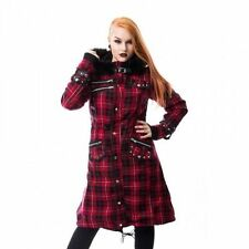 POIZEN INDUSTRIES DARE COAT LADIES RED CHECK GOTHIC HOODED JACKET