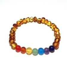 Adult Jellybean Polished Honey Baltic Amber Gemstone Stretch Bracelet