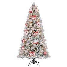 7.5' Artificial Northern Estate White Flocked Christmas Tree w/ Lights -Open Box