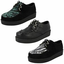 Ladies Spot On Casual Threaded Vamp Thick Sole Shoes F9588