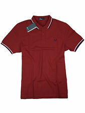 Fred Perry Polo - Shirt M3600 394 Blood / Rot / Weiß / Navy #7097