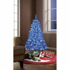 NEW Holiday Time Pre-Lit 4' Tinsel Blue Artificial Christmas Tree Clear Lights