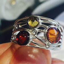 Genuine Russian Baltic Amber Vintage Ring Egg Yolk Butterscotch Poland Silver
